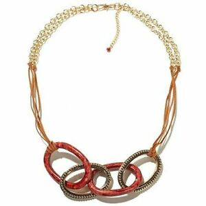 HSN Studio Barse Sponge Coral Leather and Bronze Necklace
