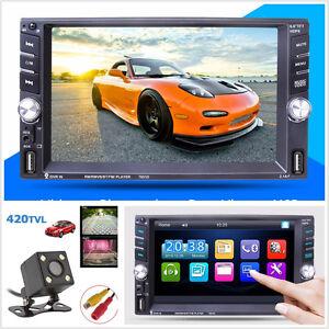 "12V 6.6"" Touch Screen 2-Din Car Bluetooth MP5 Media Player AUX 2USB FM+HD Camera"