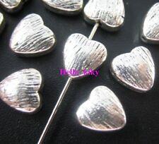 80 Pcs Tibetan silver heart spacers beads 8x8mm A8009