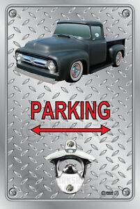 Pop A Top - Wall Mount Bottle Opener Metal Sign - Ford 1955 56 57 F100 Black
