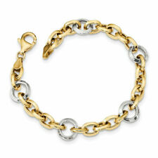 14k Two Tone Gold Fancy Link Bracelet 7