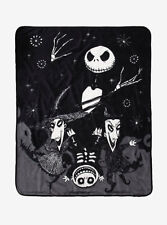 DISNEY NIGHTMARE BEFORE CHRISTMAS JACK LOCK SHOCK BARREL PLUSH THROW BLANKET NWT