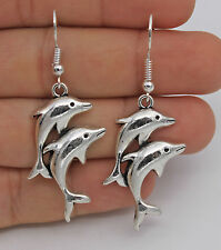 "925 Silver Plated Hook - 2.2"" Double Dolphins Trendy Women Pageant Earrings #61"