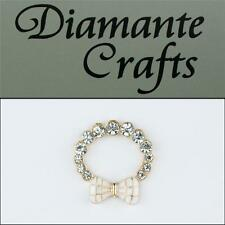 3D Ring with White Bow Gold Alloy Clear Diamantes DIY Phone Case Deco 2013R