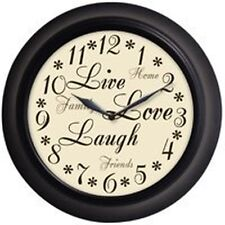 "NEW WESTCLOX 32032 LIVE LOVE LAUGH 12"" ROUND QUARTZ WALL CLOCK BEZEL COLOR SALE"