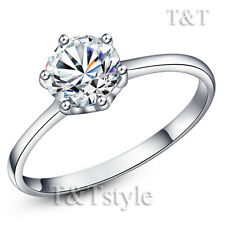TTstyle Classic 6mm 18K White Gold Plated Engagement Band Ring