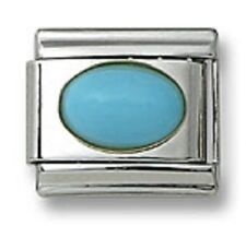 Italian Charm Natural Turquoise Stone Oval 9 mm Stainless Steel Link Bracelet