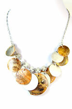 LADIES CHUNKY MULTI LAYER SEA SHELL THEMED NECKLACE UNIQUE (A26)
