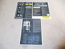 McIntosh MA 6100 Amplifier Brochure, 3 pg, Specs, Info