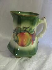 Mayfayre Staffordshire English Pottery small pitcher fruit pattern green