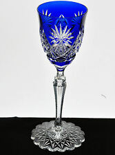 Val St Lambert Cobalt Blue Cut to Clear Crystal Wine Goblet Scalloped Foot