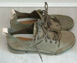 CLARKS TRI VERVE LACE MENS OLIVE LEATHER SUEDE COMBI TRAINERS SHOES SIZE: UK 10