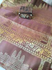 VTG 1960 Thai Angkor Wat Temple Tapestry Textile Tablecloth Gold Brocade Tassels