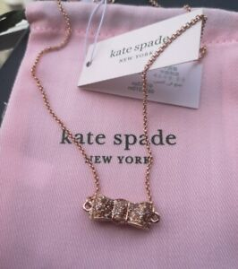 Kate Sape New York Take A Bow Lustrous Double Sided Glitter Rose Gold Necklace