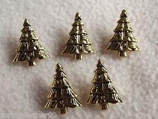 5 x color oro albero di Natale a forma di pulsanti ~ circa 20mm x 15mm CARDS / Craft