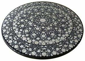 Round Black Marble Dining Table Hand Inlaid Garden Table with Mother of Pearl