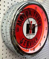 "16"" INTERNATIONAL Harvester IH Motor Truck Service Sign Neon Clock"