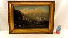 Antique 19C Moonlit Seascape Sailboats O/C Painting Gilt Frame