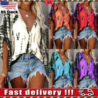 Womens Ladies V Neck Buttons Tie Dye Blouse Casual Loose Bat Sleeve Shirts Top