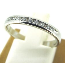 .14 ct tw Diamonds Round Brilliant Cut 10k White Gold Wedding Band Ring Size 6