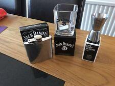 JACK DANIELS GIFT SET 1 X OLD NO7  GLASSES 1 X150th MEASURE & 1 X 6oz HIP FLASK