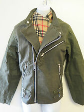 Re-engineered Tailored Barbour Waxed Cotton Shaped Biker Jacket UK 10 Euro 38