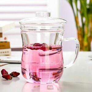 Transparent Clear Glass Teapot Kettle Infuser Filter Milk Mug Coffee Tea Cup Lid