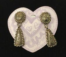 "Brighton Earrings Brass Panama Classic Drop Post Earrings 2"" New"