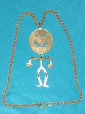 """Groovy Gold Tone Smiley Face Jointed Stick Figure Pendant on 18"""" Chain"""