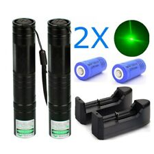 2Pcs 900 Miles Green Laser Pointer Pen 532nm Lazer+Charger+Rechargeabl e Battery
