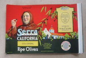 Wholesale Lot of 50 Old Vintage 1930's - SERRA - Olive CAN LABELS - CA.  MISSION