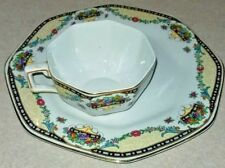 Vintage Solian Ware Soho Pottery England Cup & Luncheon Plate Octagonal Flowers