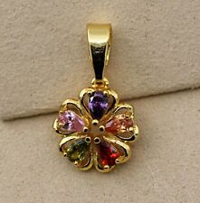 18K Yellow Gold Filled - Hollow Flower Heart Amethyst Topaz Ruby Party Pendant