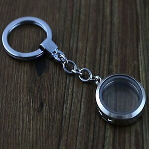 Chic 25mm Floating Charms Glass Locket Keychain Magnetic Keyring Living Memory