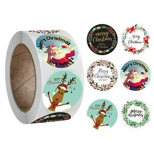2021 NEW Merry Christmas Thank You Stickers Labels Gift 2.5CM 500Pcs Roll