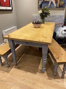 Farmhouse Table & Benches - Pine/Grey