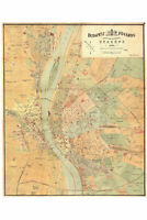 Map of Budapest, Hungary, 1884 Antique Reproduction
