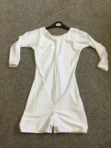 White Lycra Unitard 3/4 length sleeves, size 3A, Age 10-13 years