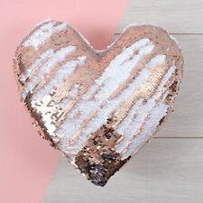 Heart Shape Plush Reversible Sequin Cushion Rose Gold Blush Pink White