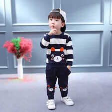 Autumn Winter Kids Baby Girl Boy Clothes Set Striped Bear Tops+Pants Outfits