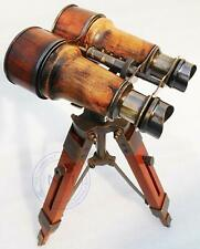Nautical Antique Marine Working Binocular With Tripod Wooden Stand Desk Decor