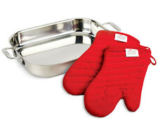 New. All-Clad 00830 Stainless-Steel Lasagna Pan with 2 Oven Mitts