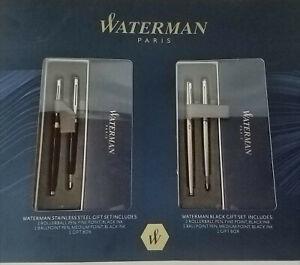 Waterman Hemisphere Fine Writing Gift Set 2 Pack, Stainless Steel & Black