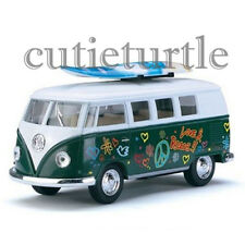 Kinsmart 1962 VW Volkswagen Classic Bus 1:32 Peace Love with Surfboard Green