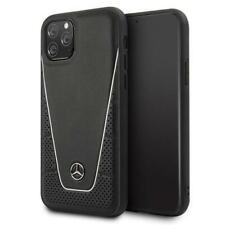 Mercedes Benz Quilted Leder Cover Case Hülle in Schwarz für Apple iPhone 11 Pro