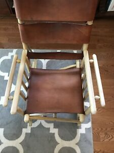 Mid-Century Costa Rican Leather Campaign Folding Rocking Chair
