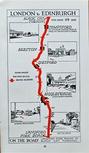 BEDFORDSHIRE Tempsford, Girtford, Langford   Antique Pictorial Road Map c1920