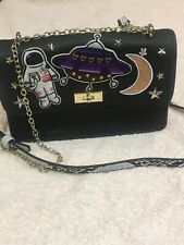 Accessorize Decorated Shoulder Bag Space Ship Chain/faux Leather Handle Glittery