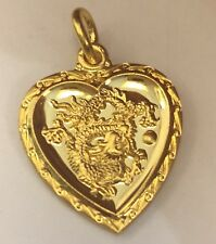 24K Yellow Gold Heart Dragon Year Animal Zodiac Pendant 3 Grams - Women Or Men