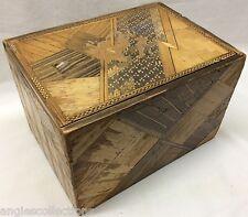 In legno coperchio scorrevole PAGLIA lavoro SCATOLA GIAPPONESE PRIGIONIERO GUERRA Vintage Antico Regalo